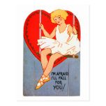 Vintage Retro Valentine Trapeze I'll Fall for You Postcard