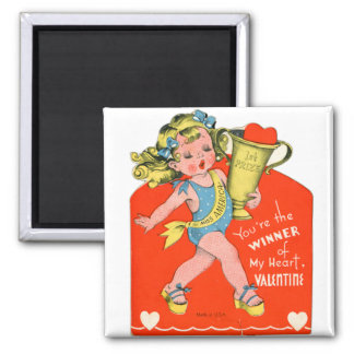 Vintage Retro Valentine Winner of My Heart Girl 2 Inch Square Magnet