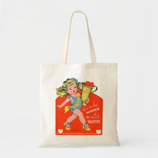 Vintage Retro Valentine Winner of My Heart Girl Canvas Bags