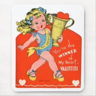 Vintage Retro Valentine Winner of My Heart Girl Mouse Pad