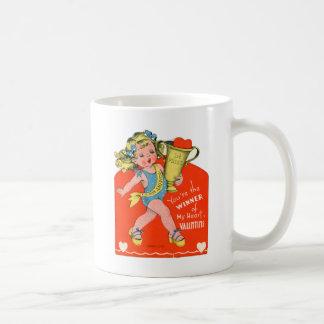 Vintage Retro Valentine Winner of My Heart Girl Classic White Coffee Mug