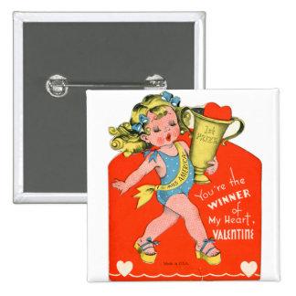 Vintage Retro Valentine Winner of My Heart Girl Pinback Button