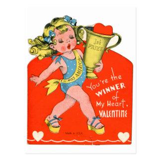 Vintage Retro Valentine Winner of My Heart Girl Postcard