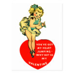 Vintage Retro Valentine You Got My Heart Jumping Post Card