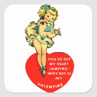 Vintage Retro Valentine You Got My Heart Jumping Square Sticker