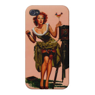 Vintage Retro Vaughan Bass Photographer Pinup Girl iPhone 4 Cover