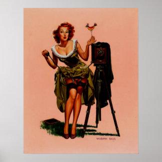 Vintage Retro Vaughan Bass Photographer Pinup Girl Poster