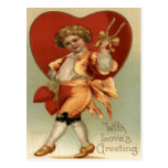 Vintage Retro Victorian Boy Hearts Valentine Card Postcards