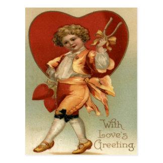 Vintage Retro Victorian Boy Hearts Valentine Card Postcard