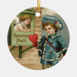 Vintage Retro Victorian Boy Mail Cupid Valentine C Ceramic Ornament