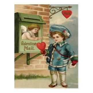 Vintage Retro Victorian Boy Mail Cupid Valentine C Postcard