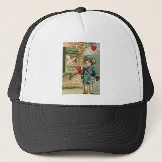 Vintage Retro Victorian Boy Mail Cupid Valentine C Trucker Hat