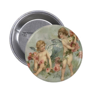 Vintage Retro Victorian Cherubs Valentine Card Button