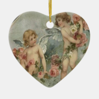 Vintage Retro Victorian Cherubs Valentine Card Ceramic Ornament