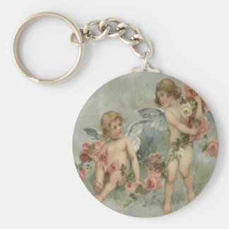 Vintage Retro Victorian Cherubs Valentine Card Keychain
