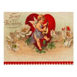 Vintage Retro Victorian Cupid Valentine Card