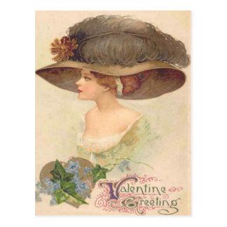 Vintage Retro Victorian Woman Valentine Card Postcard