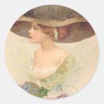 Vintage Retro Victorian Woman Valentine Card Classic Round Sticker