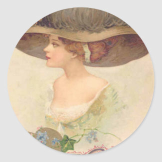 Vintage Retro Victorian Woman Valentine Card Stickers