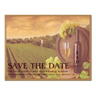Vintage Retro Vineyard Sunset Save The Date Postcard
