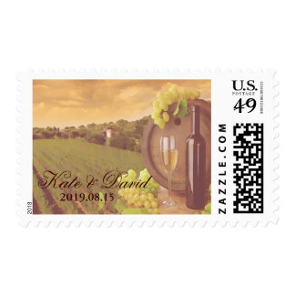 Vintage Retro Vineyard Sunset Wedding Custom Postage