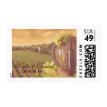 Vintage Retro Vineyard Sunset Wedding Custom Stamp