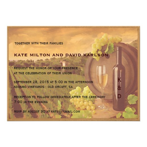 Vintage Retro Vineyard Sunset Wedding Invite Personalized Announcements