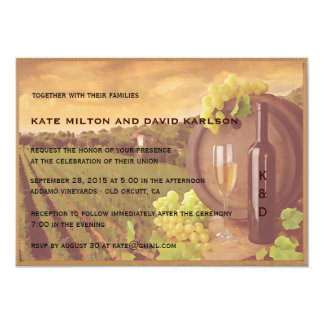 Vintage Retro Vineyard Sunset Wedding Invite Personalized Announcements