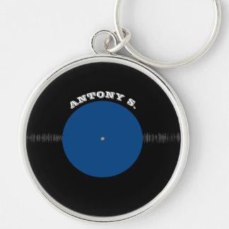 Vintage Retro Vinyl Record (Blue) Personalized Keychain