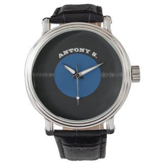 Vintage Retro Vinyl Record (Blue) Personalized Wristwatch
