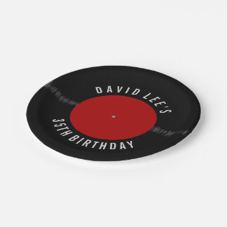 Vintage Retro Vinyl Record Personalized Party Paper Plate