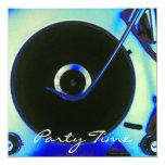 """Vintage Retro Vinyl Record Player Invitation 5.25"""" Square Invitation Card"""
