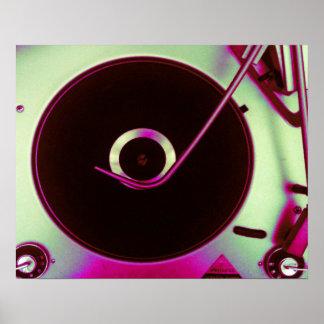 Vintage Retro Vinyl Record Player Poster