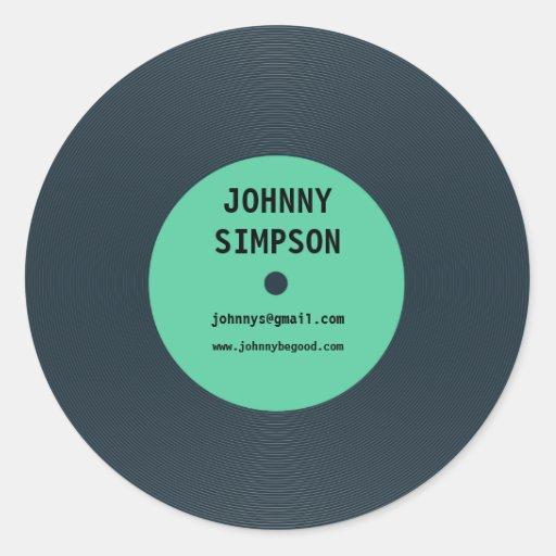 Vintage Retro Vinyl Record Text Template Sticker