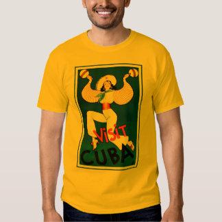 Vintage Retro Visit Cuba Travel Poster T-shirt