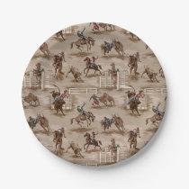 Vintage Retro Western Rodeo Cowboy Paper Plates