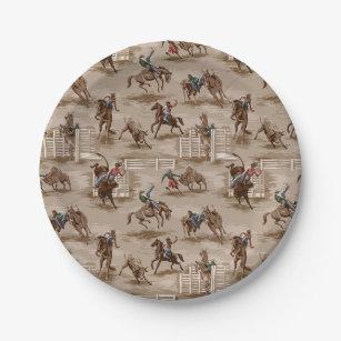 Vintage Retro Western Rodeo Cowboy Paper Plates & Cowboy Plates | Zazzle