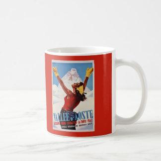 Vintage retro winter Italian Alps travel Classic White Coffee Mug