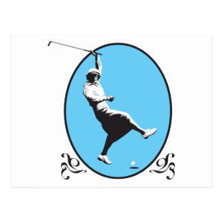 vintage retro woman golfer golfing design postcard