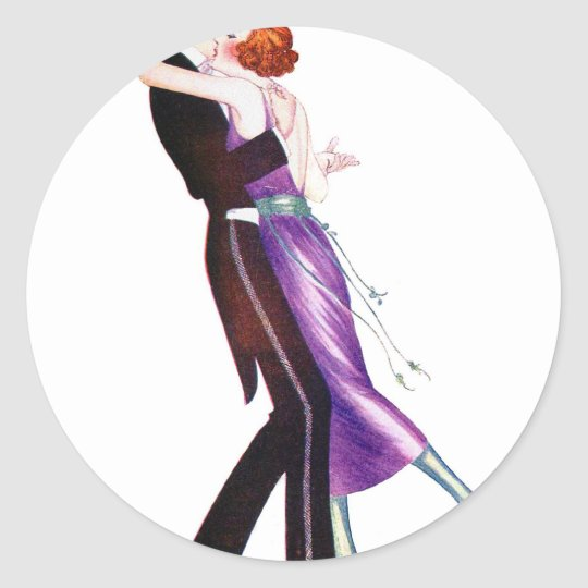 Vintage Retro Woman Women Deco Dancers Classic Round Sticker