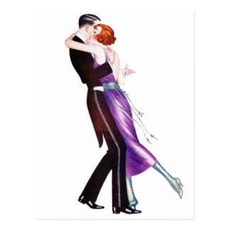 Vintage Retro Woman Women Deco Dancers Postcard