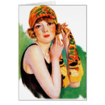 Vintage Retro Women 20s Deco Flapper Girl Pin Up Greeting Card