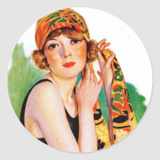 Vintage Retro Women 20s Deco Flapper Girl Pin Up Round Stickers