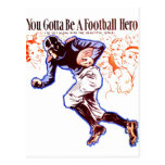 Vintage Retro Women 20s Football Hero Postcard