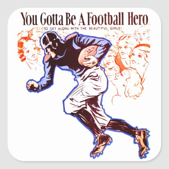 Vintage Retro Women 20s Football Hero Square Sticker