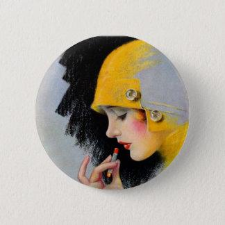 Vintage Retro Women 20s Hollywood Lipstick Girl Button