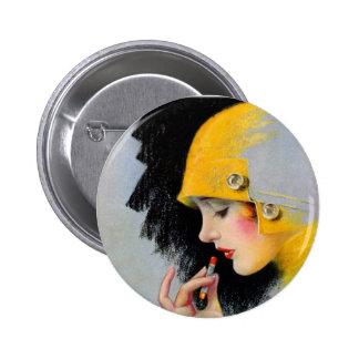 Vintage Retro Women 20s Hollywood Lipstick Girl Button
