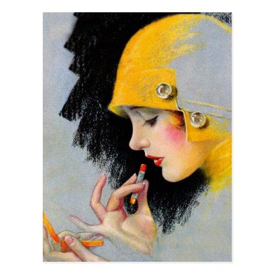 Vintage Retro Women 20s Hollywood Lipstick Girl Postcard
