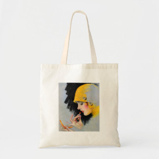 Vintage Retro Women 20s Hollywood Lipstick Girl Tote Bag