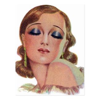 Vintage Retro Women 20s Make Up Eye Shadow Girl Postcard